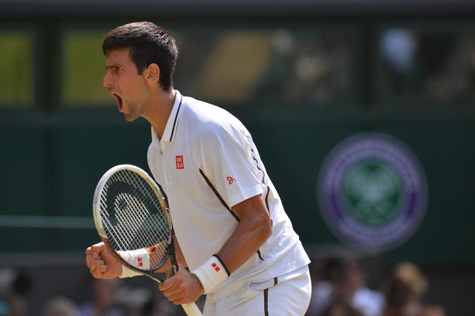 Novak Djokovic reacted during his match against Juan Martin Del Potro on Friday.